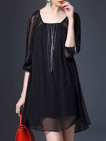 Fringed Plain Mini Dress