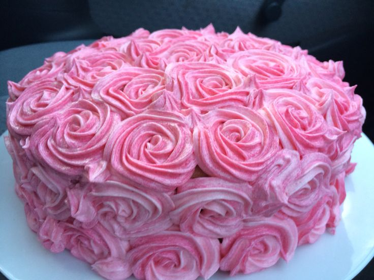 Piped rose cake...hot pink layers