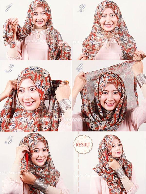 Tutorial Jilbab Cantik Dengan Pashmina Siffon Motif - Dorie Shop
