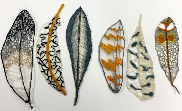 embroidery feathers on dissolvable fabric