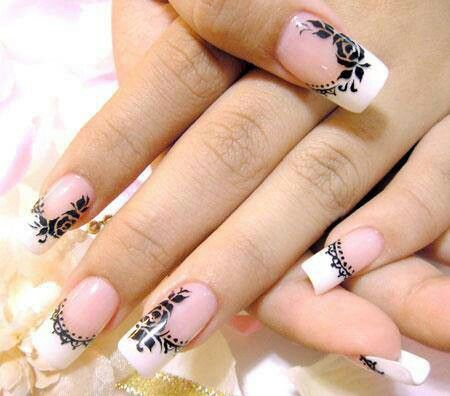 French tip with black design