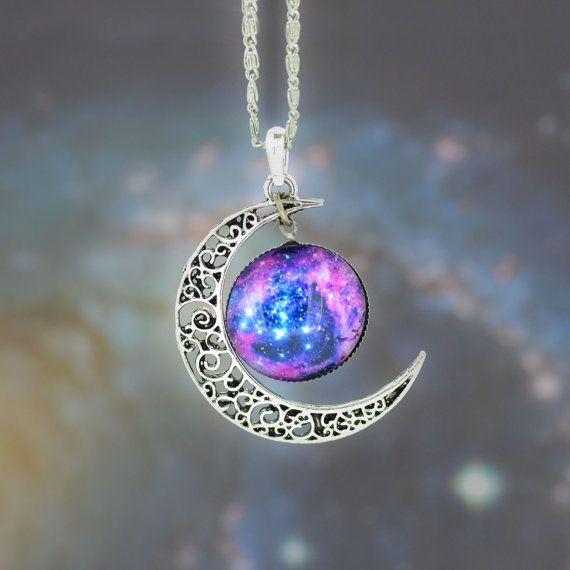 Galaxy Necklace,Silver Moon Pendant Necklace,Moon necklace, Bib Necklace,Hollow Blue Purple Star Galactic Cosmic Moon Necklace #IB841