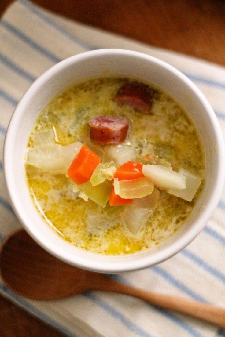 ポカポカ野菜とソーセージの豆乳スープ [レシピ] by Yoshiko Sullivan