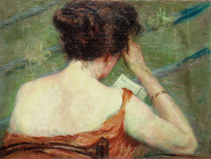 A Carta,  1925 Eliseu Visconti ( Brasil, 1866-1944) Óleo sobre tela,  51 x 69 cm Coleção Particular