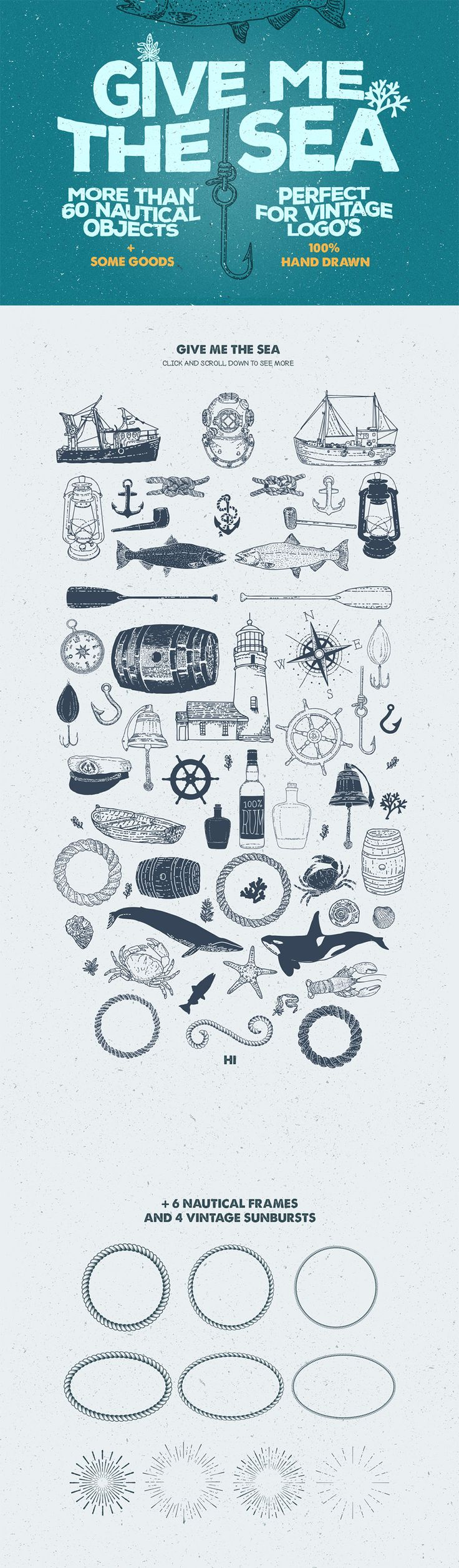Give Me The Nautical Hand Drawn Pack by Pavel | The Comprehensive, Creative Vectors Bundle Mar 2015 from Design Cuts