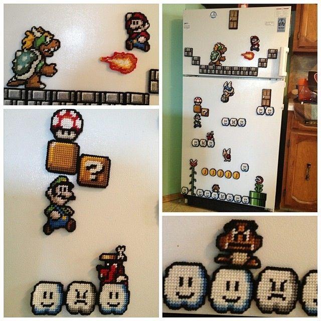 Plastic canvas super Mario fridge magnets I've made to decorate my fridge.