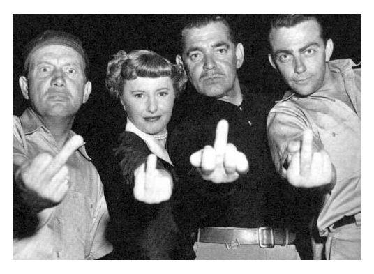 Barbara Stanwyck & Clark Gablr Giving the Finger, (1950)