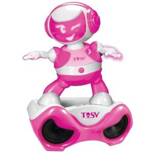TOSY Robotics: DiscoRobo Toy with Voice and Sound Stage-Pink It has 56 dance moves and 8 light up facial expressions. Bonus songs included. http://awsomegadgetsandtoysforgirlsandboys.com/tosy-robotics-discorobo/  TOSY Robotics: DiscoRobo Toy with Voice and Sound Stage-Pink