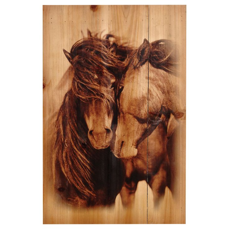 Two Horses Wood Panel   A Lone Star Western Decor Exclusive   Printed In  Sepia Tones On Distressed Planked Wood, The Two Horses Wood Panel Wall  Hanging ...