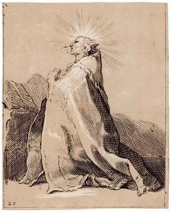 Абрахам Блумарт  Коленопреклоненный святой  1652, 14×18см•Ксилография, Кьяроскуро, Дерево