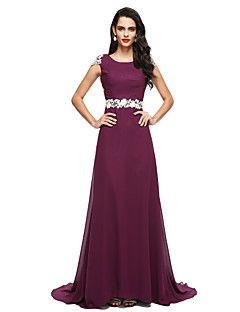 Επίσημο Βραδινό Φόρεμα Γραμμή Α Με Κόσμημα Ουρά μέτριου μήκους Σιφόν / Δαντέλα με Διακοσμητικά Επιράμματα