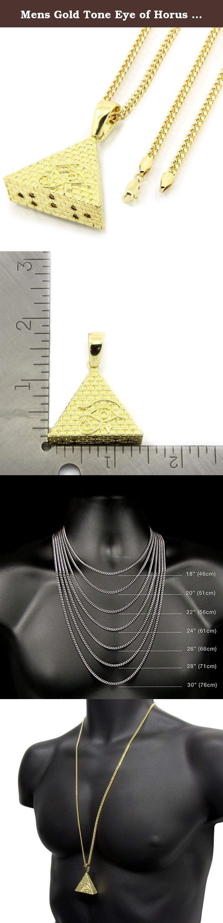 """Mens Gold Tone Eye of Horus Egyptian Pyramid Hip Hop Micro Pendant with 30"""" Inch 3mm Cuban Chain. Please keep in mind that this item is not real GOLD. This is a GOLD TONE Cuban Chain that measures 3 millimeters Wide and 30"""" inches long. And this a GOLD TONE Jesus pendant that measures 1"""" 7/8 inches long and 1"""" 3/8 inch wide."""