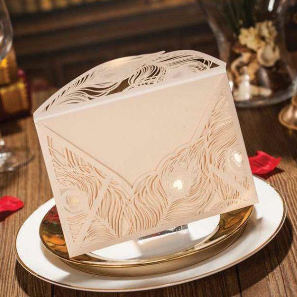 elegant ivory peacock gold laser cut wedding invitations EWWS019