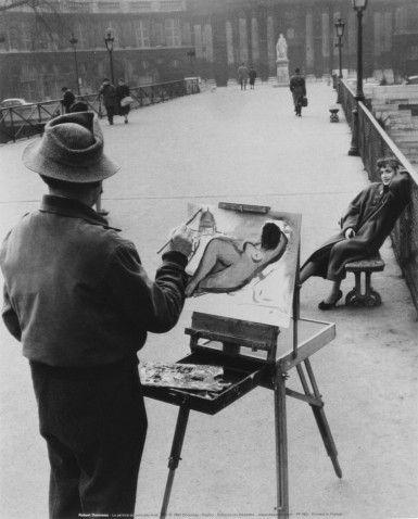 The Painter On The Arts Bridge 1953 Paris (Robert Doisneau)