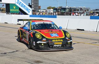 The MOMO Porsche 911 GT America heading for the penalty box.