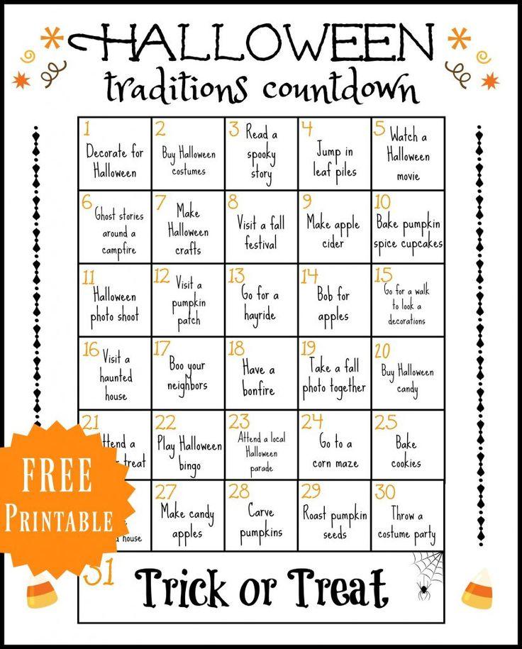 Halloween Traditions Printable