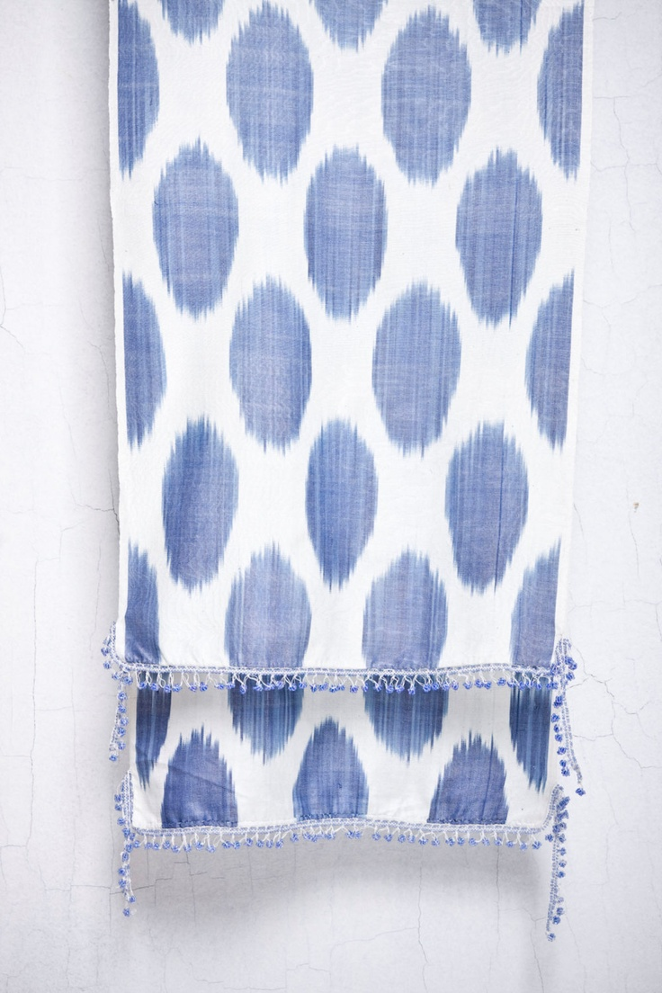ikat scarf with beading