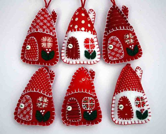 Felt Christmas ornaments, Red and white patchwork houses, Handmade felt…