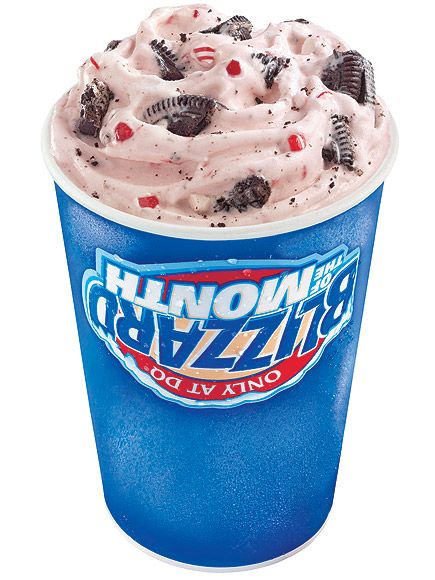 Your Comprehensive Guide to the Latest Holiday-Flavored Foods | CANDY CANE BLIZZARD | There may not be anything winter-y about a frozen ice cream concoction, but Dairy Queen comes close with this  festive, pink-and-white Blizzard studded with Oreo chunks.