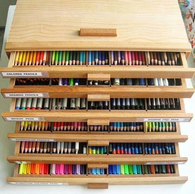 Wooden storage box for drawing/coloring supplies