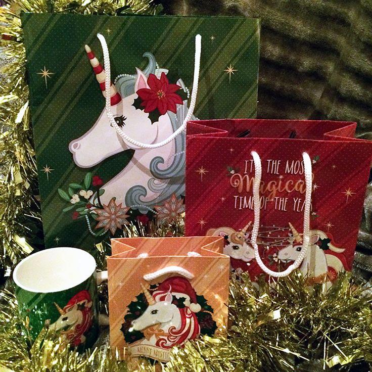 Bolsas de regalo Unicornios Navideños #bolsas #regalo #unicornio #navidad #regalos #unicorn #colores #ambientación #packaging #envoltorio #originales