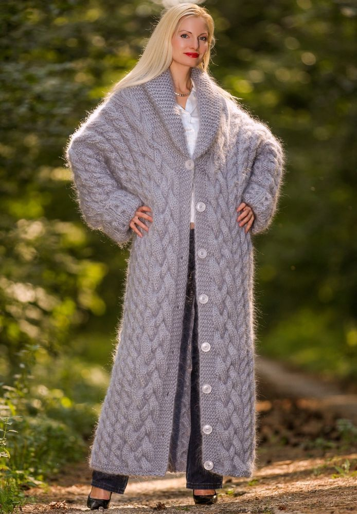3 9 Kg Hand Cable Knit Mohair Coat Gray Thick Long Fuzzy