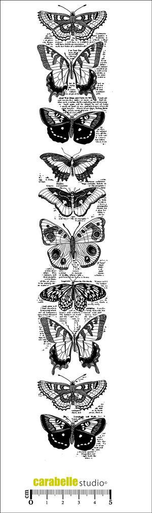 Tampon en Caoutchouc blanc monté sur mousse EZ MOUNT. Livré avec un bloc acrylique (6x31cm) Thème: Nature Papillons. Dimension du tampon: 5x29cm