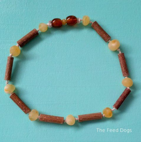 Raw  Baltic Amber and Hazelwood Teething Necklace   by TheFeedDogs, $20.00