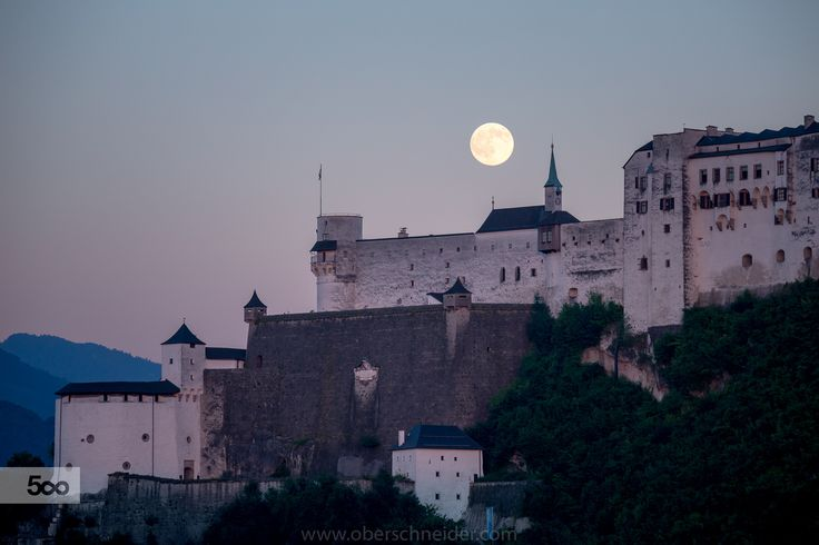 Full Moon Rising above the Fortress Hohensalzburg by Christoph Oberschneider on 500px