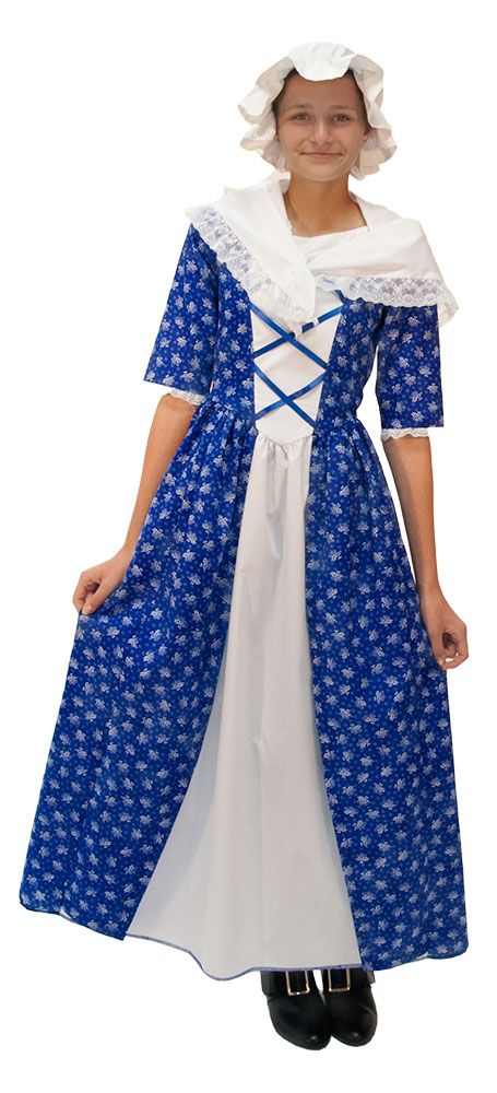 Nancy Morgan Hart Colonial Dress Includes: blue floral print colonial dress with a white inset and lace trim, that zips in the back and comes with a colonial mob cap, and colonial shawl.