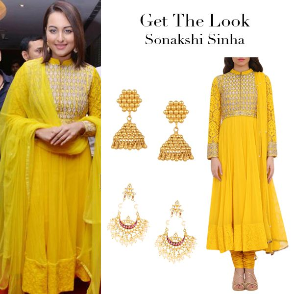 Sonakshi Sinha looked stunning at an event in this blazing yellow anarkali suit by Anita Dongre.