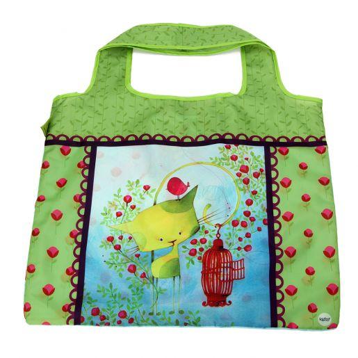 Sac d'Achats Repliable Oiseau en Cavale KETTO Foldable Shopping Bag Bird on the Run // Polyester. Capacité de 10 kg. // Polyester. Capacity of 10 kg. // #SacRepliable #FoldableBag #Ketto