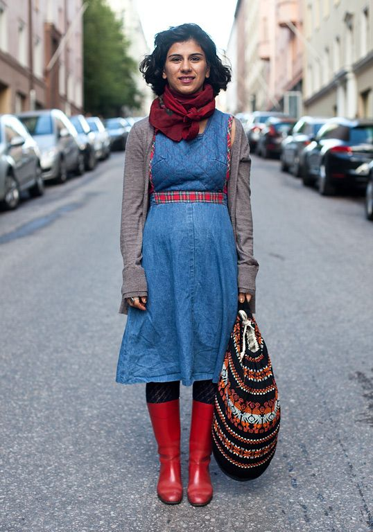 """Sarah, 25  """"My friend gave me the dress, the scarf is second hand, the bag from Paris and the old Nokia rubber boots from the Recycling Factory event.  Lately my style has expanded. Ethnic prints inspire me."""""""