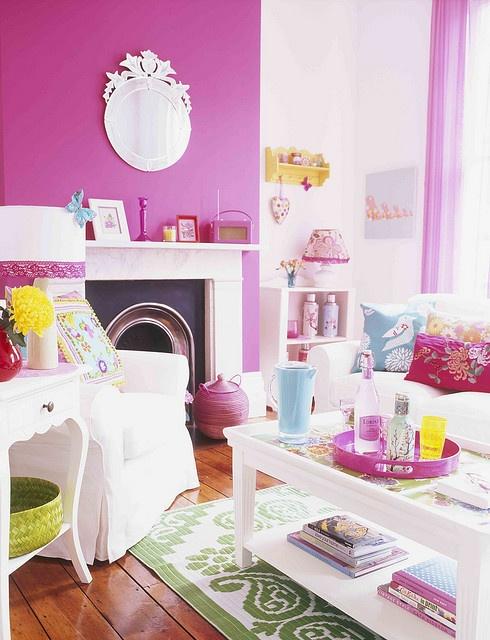 Magenta pink walls