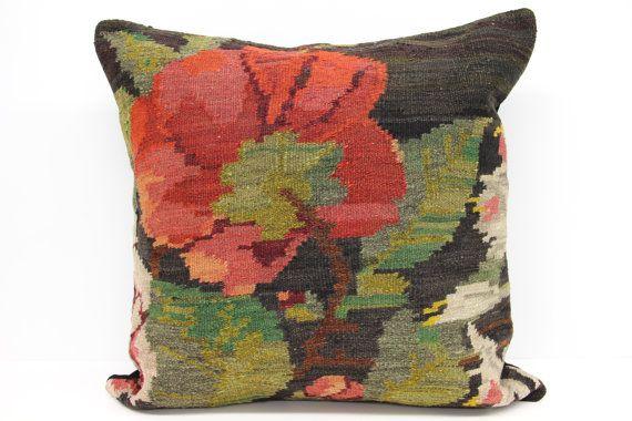 Moldovan Kilim Pillow Cover 24 x 24 Roses by kilimwarehouse