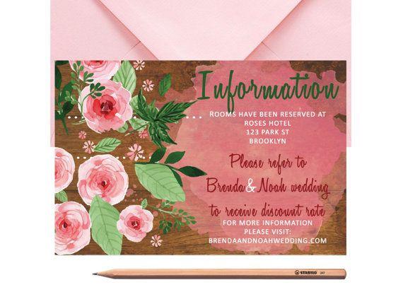 Boho Wedding Information Card  Pink Roses by LoveArtsStationery