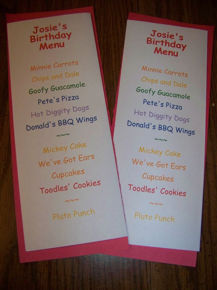 Mickey Mouse Party ~ Decorations ~ Mickey's Menu (Print out menu using differs colored and style fonts. Cut out a colored cardstock of your choice that is slightly bigger then the menu and glue together.)