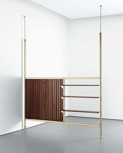 French Midcentury Shelf Tension Pole Divider  Mid