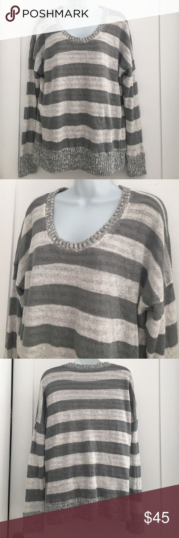 Eileen Fisher Stripped Gray White Sweater size L Preowned Eileen Fisher Stripped Gray White Sweater size L. Signs of loving wear. Lined with a T shirt material inside. Very cozy. Please look at pictures for better reference. Happy shopping!! Eileen Fisher Sweaters V-Necks