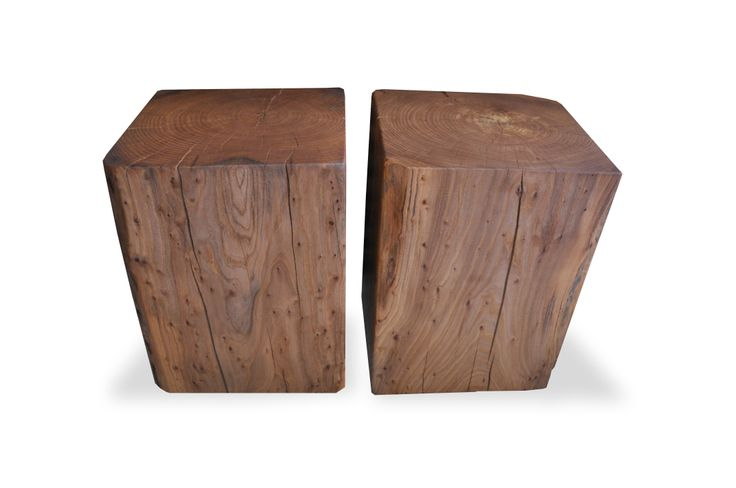 reclaimed solid wood cube coffee tables and side tables by