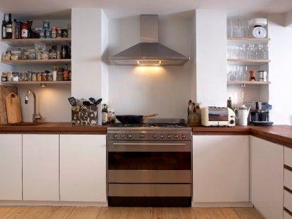 Space-saving kitchen. Reclaimed Jarrah worktop