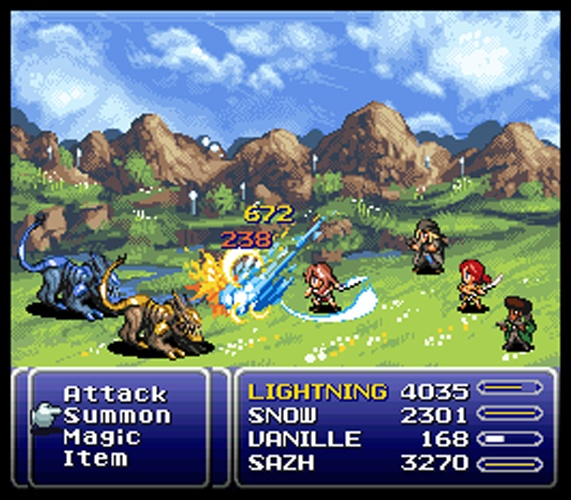 I even know what battle this is in the game. O: But only Sazh and Vanille fought them. FFXII in good ole Final Fantasy format. :D