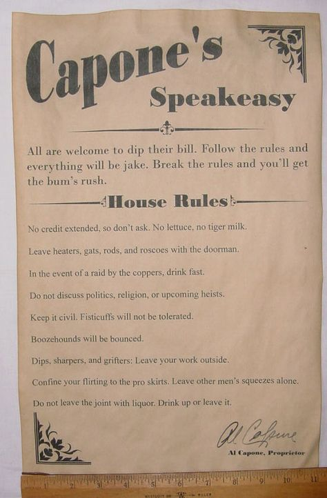 Bar casa reglas de cartel de Al Capone 11 x 17 barra por McMinnies