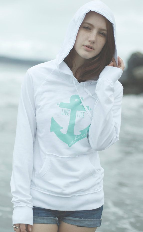 Live Life Anchored Raw Edge Hoodie White/Mint by PrintedPalette, $32.00