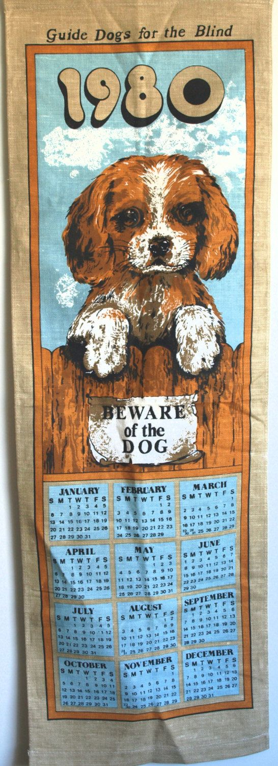 Retro 1980 Linen Cotton Beware of the Cute Beagle Dog Calendar - 80s Guide Dogs for the Blind Wall Hanging - by FunkyKoala on Etsy