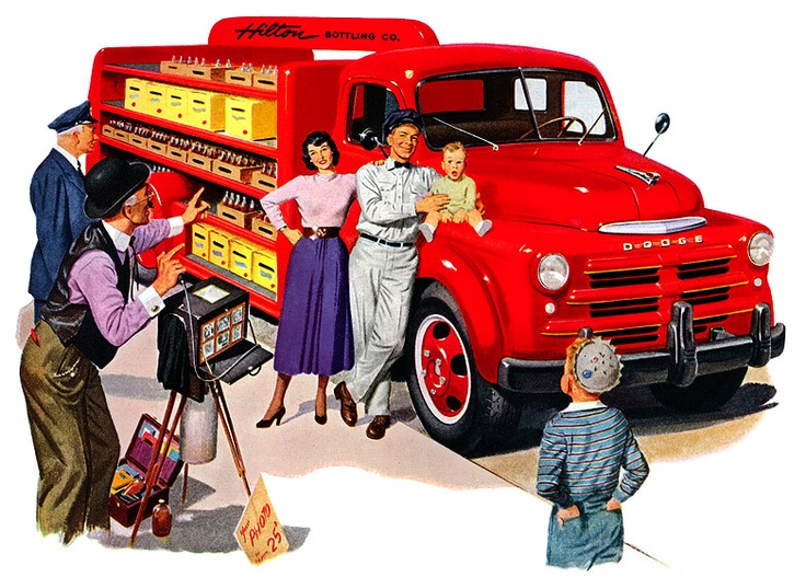 Truck ads from the 50s..I like how the little baby looks surprised!