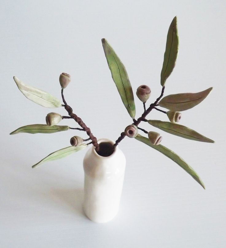 Ceramic Australian Eucalyptus and gumnuts in a  vase all hand crafted by BronsCeramics on Etsy https://www.etsy.com/au/listing/453730948/ceramic-australian-eucalyptus-and