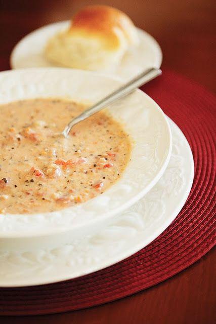 crock-pot tomato-basil parmesan soup (minus the flour)