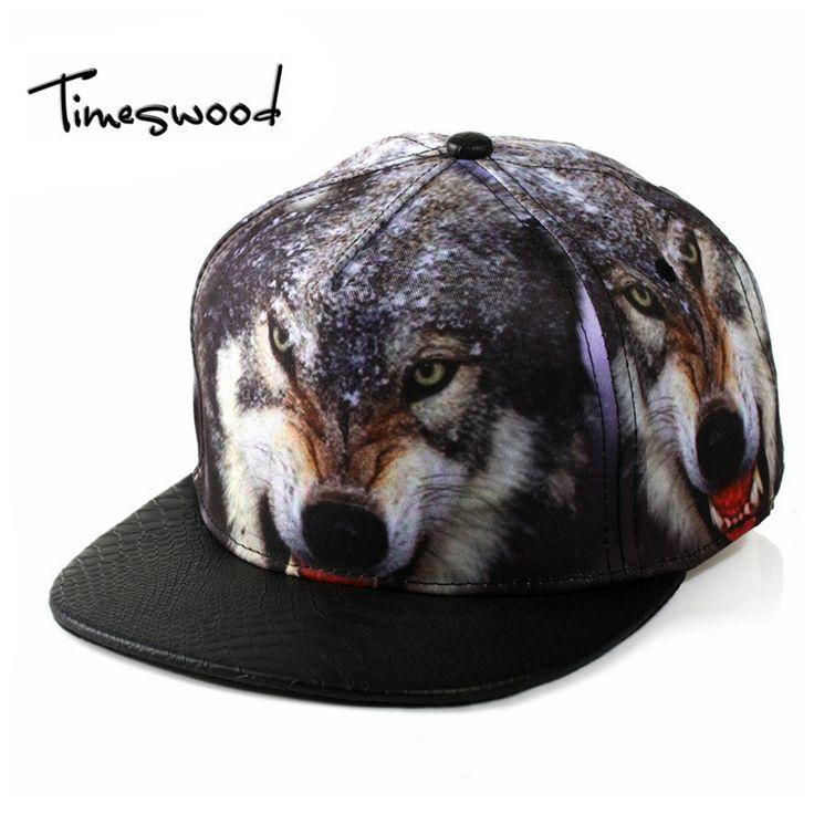 [TIMESWOOD]New Creative 3D Wolf Baseball Caps Animal Print Adjustable Men Women Fashion HipHop Hats Fashion Hip Hop Snapback Cap #Affiliate