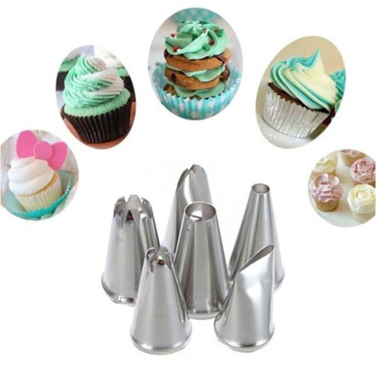 6 pcs/set DIY Stainless Steel Icing Piping Nozel Pastry Tips Fondant Cup Cake Kue Gratis Pengiriman